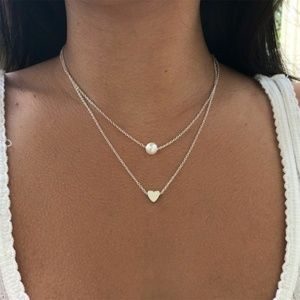 Dainty Layered Heart and Pearl Necklace (Silver)